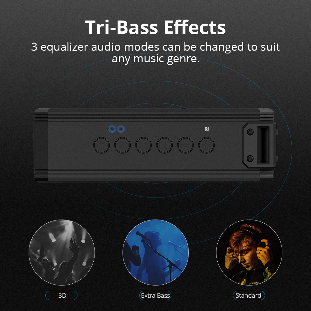 tri bass effects Tronsmart Element Force+ SoundPulse™ Portable Bluetooth Speaker