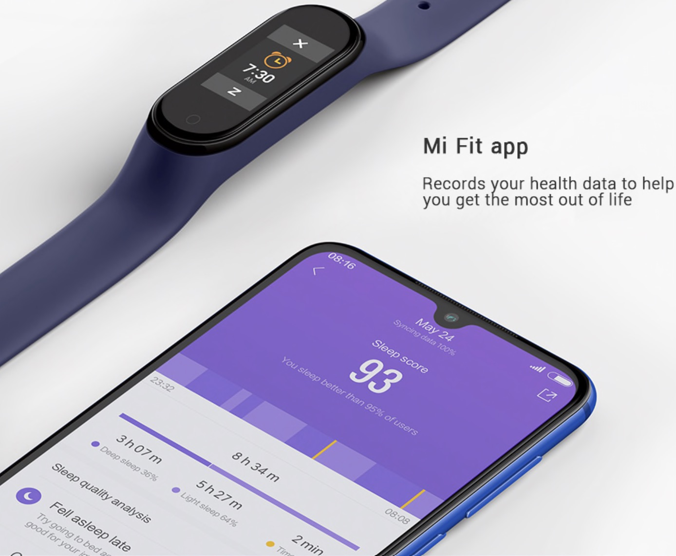 Mi Fit APP Not only does it provide continuous heart rate, sleep and other health data recording, it allows various activity modes and exercises which help to enhance your vitality and reduce fat.