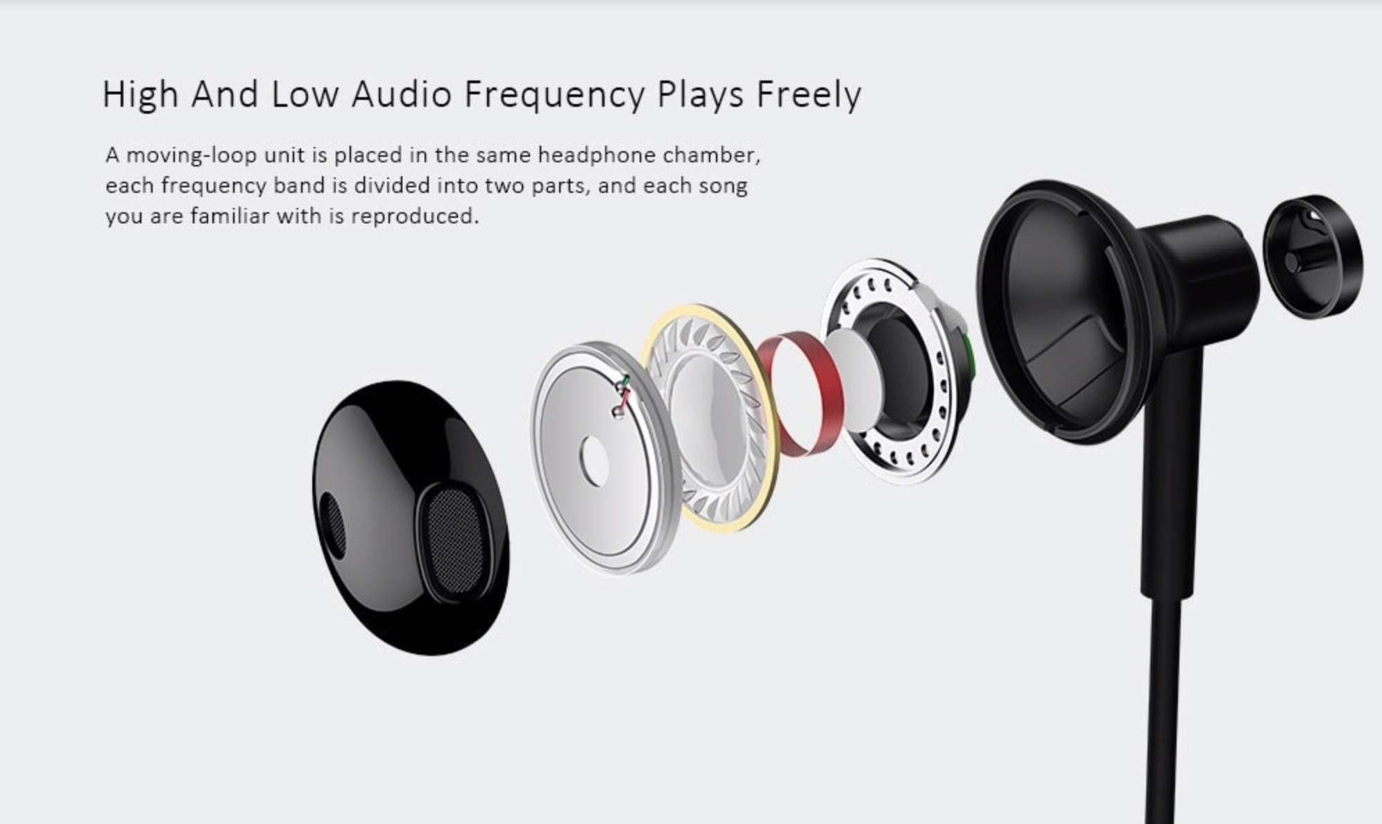 Mi Dual Driver Earphones (Type-C) High and Low Audio Frequency Plays Freely A moving-loop unit is placed in the same headphone chamber, each frequency band is divided into two parts, and each song you are familiar with is reproduced