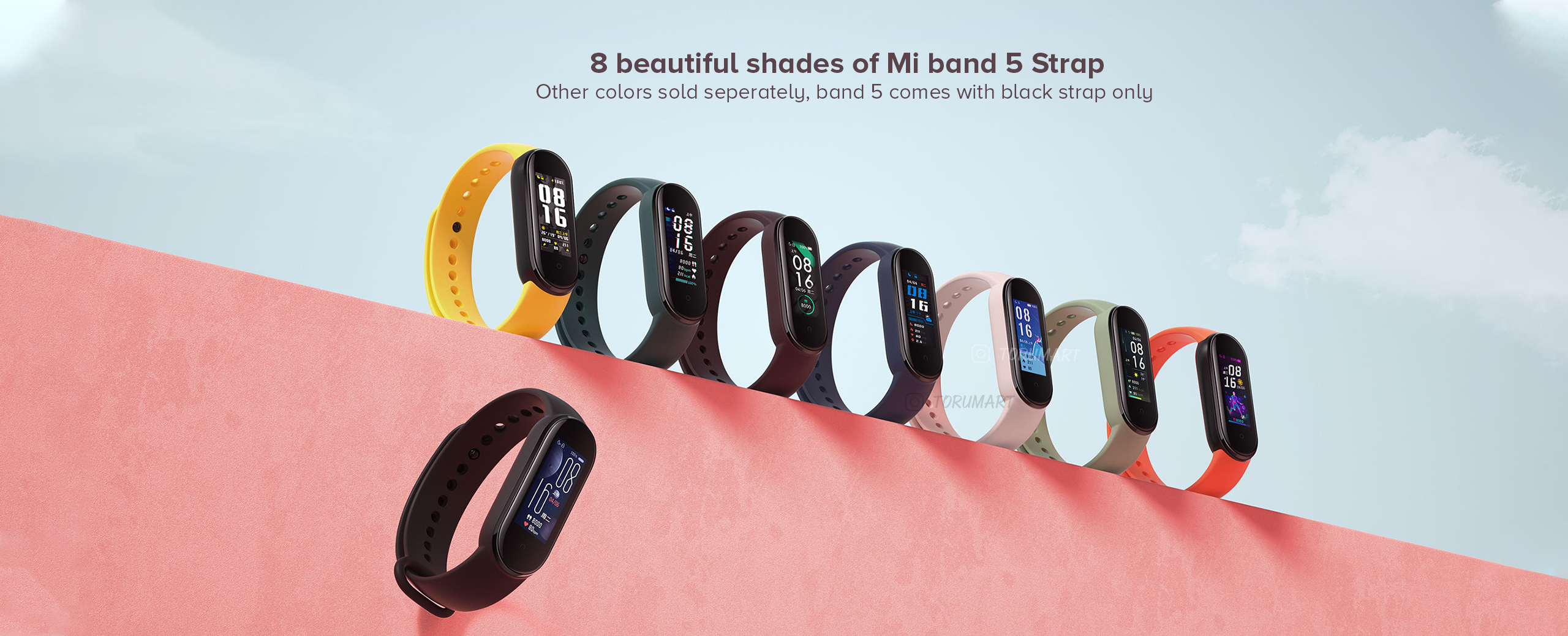 8 beautiful shades of Mi band 5 Strap