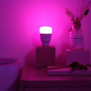 in room Yeelight smart color light bulb 1S